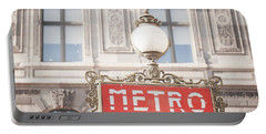 Paris Metro Sign Architecture Portable Battery Charger