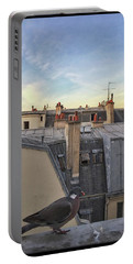 Portable Battery Charger featuring the photograph Paris Rooftop Pigeon by Frank DiMarco