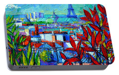 Paris Rooftops - View From Printemps Terrace   Portable Battery Charger by Mona Edulesco