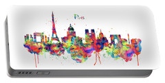 Portable Battery Charger featuring the mixed media Paris Skyline 2 by Marian Voicu