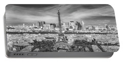 Portable Battery Charger featuring the photograph Paris Skyline - Monochrome Panorama by Melanie Viola