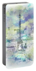 Portable Battery Charger featuring the photograph Paris Skyline - Watercolor by Melanie Viola