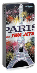 Paris - Twa Jets - Trans World Airlines - Eiffel Tower - Retro Travel Poster - Vintage Poster Portable Battery Charger