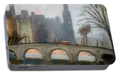 Portable Battery Charger featuring the painting Parisian Gray by Gary Coleman