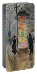 Portable Battery Charger featuring the photograph Parisian Street Scene by John Stephens