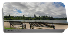 Park Bench Along Capitol Lake In Olympia Washington Portable Battery Charger