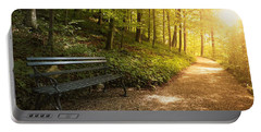 Portable Battery Charger featuring the photograph Park Bench In Fall by Chevy Fleet