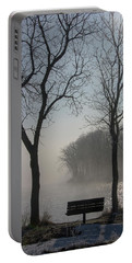 Park Bench In Morning Fog Portable Battery Charger