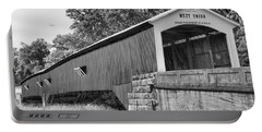 Parke County West Union Covered Bridge Black And White Portable Battery Charger