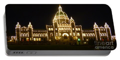Parliament Building At Night - Victoria British Columbia Portable Battery Charger