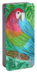 Portable Battery Charger featuring the painting Parrot At Sundy House by Donna Walsh