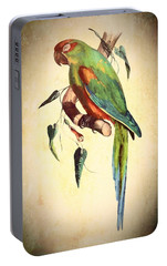 Portable Battery Charger featuring the mixed media Parrot by Charmaine Zoe