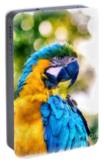 Portable Battery Charger featuring the painting Parrot Watercolor by Edward Fielding