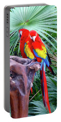 Portable Battery Charger featuring the digital art Parrots by Francesca Mackenney