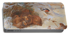 Partridge And A Bullfinch In The Snow  Portable Battery Charger