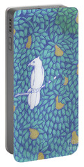 Portable Battery Charger featuring the drawing Partridge Pear Tree by Donna Huntriss