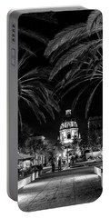 Portable Battery Charger featuring the photograph Pasadena City Hall After Dark In Black And White by Randall Nyhof