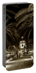 Portable Battery Charger featuring the photograph Pasadena City Hall After Dark In Sepia Tone by Randall Nyhof