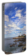 Passing Clouds At Portland Head Light Portable Battery Charger