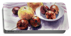 Portable Battery Charger featuring the painting Passion Fruits And Pears 2 by Joey Agbayani
