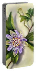 Portable Battery Charger featuring the painting Passion Vine Flower by Randol Burns