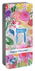 Portable Battery Charger featuring the mixed media Passover Chai- Art By Linda Woods by Linda Woods