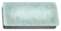 Pastel Aqua Roses Portable Battery Charger