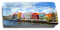 Pastel Building Coastline Of Caribbean Portable Battery Charger