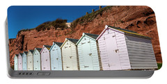 Pastel-coloured Beach Huts Portable Battery Charger by Lana Enderle