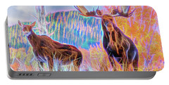 Pastel Moose Couple Portable Battery Charger