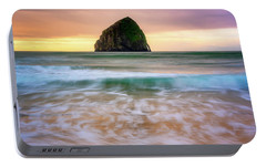 Portable Battery Charger featuring the photograph Pastel Morning At Kiwanda by Darren White