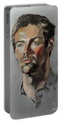 Pastel Portrait Of Handsome Guy Portable Battery Charger