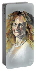 Pastel Portrait Of Woman With Frizzy Hair Portable Battery Charger