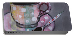 Portable Battery Charger featuring the painting Pastel Stripes Polka Dotted Coffee Cup by Robin Maria Pedrero