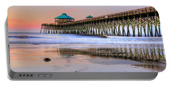 Pastel Sunrise On Folly Beach Pier In Charleston South Carolina Portable Battery Charger