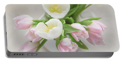 Portable Battery Charger featuring the photograph Pastel Tulips by Kim Hojnacki
