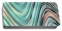 Portable Battery Charger featuring the digital art Pastel Zigzag by Bonnie Bruno