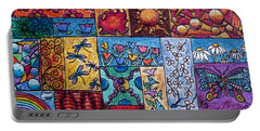 Portable Battery Charger featuring the drawing Patchwork 4 by Megan Walsh