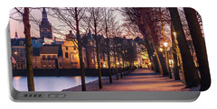 Portable Battery Charger featuring the photograph Path By A Pond - The Hague by Barry O Carroll
