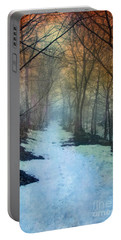Path Through The Woods In Winter At Sunset Portable Battery Charger