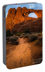 Portable Battery Charger featuring the photograph Path To Skyline Arch At Sunset - Utah  by Gary Whitton