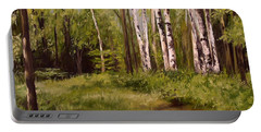 Path To The Birches Portable Battery Charger by Laurie Rohner