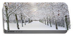 Pathway In Snow Portable Battery Charger by Marius Sipa