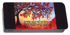 Portable Battery Charger featuring the painting Patient Autumn Tree by Sonya Nancy Capling-Bacle