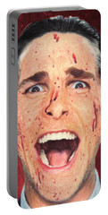 Portable Battery Charger featuring the painting Patrick Bateman by Taylan Apukovska