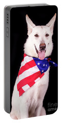 Patriotic Dog Portable Battery Charger by Stephanie Hayes