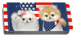 Portable Battery Charger featuring the painting Patriotic Pomeranians by Catia Lee