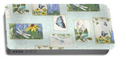 Pattern Butterflies Dragonflies Birds And Blue And Yellow Floral Portable Battery Charger by Audrey Jeanne Roberts