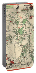 Paul Bunyan's Playground - Northern Minnesota - Vintage Illustrated Map - Cartography Portable Battery Charger