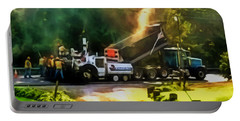 Pavement Machine Laying Fresh Asphalt  On Top Of The Gravel Base During Highway Construction Portable Battery Charger